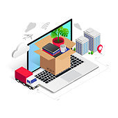relocation service isometric concept box in laptop