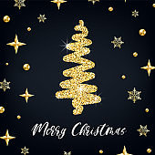 Merry Christmas gold greeting card template. Hand drawn stylized Christmas tree with golden glitter effect on black decorated background. New Year square Vector illustration for print design, web, tag
