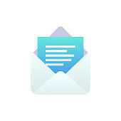 New open message flat icon, Mobile Email, New e-mail sign. White open envelope isolated. Social network, sms chat, spam, incoming mail vector envelope symbol for web, landing design, app, advert