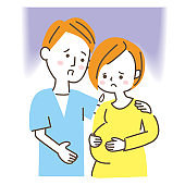 Husband nestles with fetus or pregnant woman (anxiety)