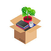 Isometric relocation concept box furniture