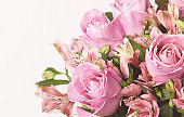 Beautiful pink rose and alstroemeria flowers in a bouquet