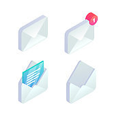 Mobile Email isometric icon set. 3d New incoming message notification, open message, e-mail sign. Social network, sms chat, spam, new mail vector symbols for website, landing design, app, advert