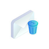 Delete email isometric icon. 3d message with trash icon isolated. Mobile Email bin sign. Social network, sms chat, spam, mail vector symbol for web, landing, app, advert, infographic