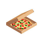Tasty sliced pizza in opened box isometric