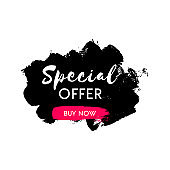 Black Friday Sale sticker. Hand drawn black brushstroke shopping tag. Vector illustration design template for flyer, poster, shopping, discount, web, promotion, ads