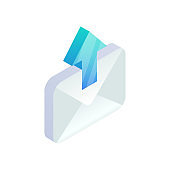 Send Email, New message isometric icon. E-mail with arrow sign. Outgoing mail. 3d Social network, sms chat vector envelope symbol for website, landing design, mobile app, advert