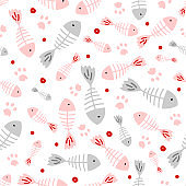 Hand drawn kid seamless pattern. Pastel pink and gray cute fish and cat paws footprints abstract texture background. Vector illustration for child print design, paper, fabric, decor, gift wrap