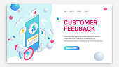 Customer feedback trendy landing. Review isometric 3d web page concept. User icon and product positive comment on smartphone screen and loudspeacker. Social Media Digital marketing vector illustration