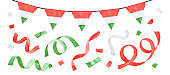 Water color drawing of bright garland with tricolor flag of Hungary and party streamers set. Red, white, green colours. Hand drawn watercolour paint, cut out clip art elements for design decoration.