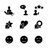 Customer satisfaction black icons on white background