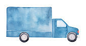 Watercolor drawing of navy blue delivery truck with black wheels and large blank body. Handdrawn water color graphic illustration, cut out clipart element for design, poster, postcard, banner, print.