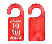 "Watercolour set of two bright red door hanger tags: blank one and with ""Please Do Not Disturb"" writing. Hand painted water color sketchy drawing, cut out clip art elements for design, banner, print."