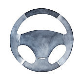 Watercolour illustration of grungy black steering wheel. Control and speed symbol. One single object, top view. Hand painted water color sketchy drawing, cutout clip art element for creative design.
