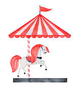 Watercolor illustration of red retro carousel with bright positive horse. Symbol of joy. Hand painted water color sketchy drawing, cut out clipart element for design decoration, greeting card, poster.