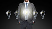 close up of businessman in suit with light bulbs