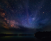 night starry sky on the river