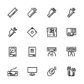 Computer hardware and equipment line icon set