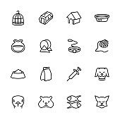 Line icon of pet, contain pet activity and related to pet shop or pet care