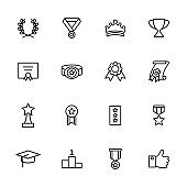 Line icon set related to achievement, appreciation, success
