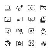 Line icon set of video production or publishing activity
