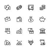 Line icon set related to Investment, Economic, Banking or Finance