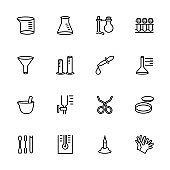 Line icon set of Chemistry Research Equipment. Editable stroke vector, isolated at white background