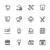 Line icon set of dental activity