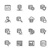 Line icon set related to database built, management and report system