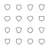 Line icon of shields collection. Editable stroke vector, isolated at white background