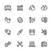 Line icon set related to car repairing and maintenance service