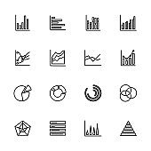 Line icon set of graphic chart diagram. Editable stroke vector, isolated at white background