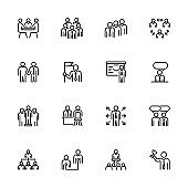 Line icon set of office activity for business people.
