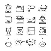 Kitchen equipment line icon set