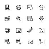 Line icon set related to web service such as domain, hosting, optimization, design and more