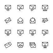 Line icon set of envelope