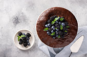 Fresh delicious homemade chocolate cake with berries