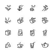 Line icon set of tea processing and serving