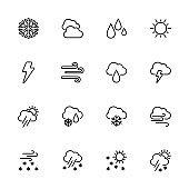 Line icon set of weather symbol
