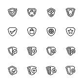 Line icon collection set related to protection, security or shield