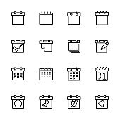 Line icon collection related to schedule, calendar or deadline. Editable stroke vector, isolated at white background