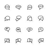 Line icon set related to conversation.
