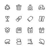 Line icon set of recycle, rubbish and pollution.