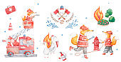 Watercolor cute cartoon little two foxes extinguish a fire on trees with water Baby colorful nursery clip art isolated background Fireman animals set, The global gap in the forest For greeting, poster