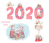 Cute cartoon christmas rat mouse christmas card. Watercolor hand drawn animal illustration. New Year 2020 holiday drawing. Colorful rats and candlelight, wood frame for greeting card