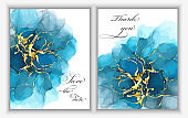 Modern creative design,  background marble texture. Wedding invitation.  Alcohol ink.