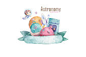 Design set with school items for astronomy. Hand drawn watercolor illustration isolated background