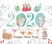 Cute cartoon christmas rat mouse christmas card. Watercolor hand drawn animal illustration. New Year 2020 holiday drawing illustration. Symbol 2020 characters set