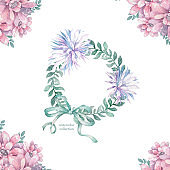 Invitation. Wedding or birthday card. Floral frame. Watercolor background with pink flowers and green leaves. Boho style. Beauty isolated bouqet circle frame background