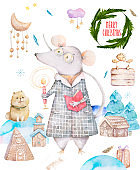 Cute watercolor cartoon set rats and spruce tree. Watercolor hand drawn animals illustration. New Year 2020 holiday drawing illustration. Symbol 2020 Merry Christmas gift card. Greeting postcard